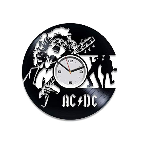 Kovides AC DC Vinyl Clock AC DC Vinyl Wall Clock AC DC Vinyl Record Clock Home Decor Art Best Gift for Musician Silent Mechanism AC DC Rock Band Music AC DC Wall Clock Vintage