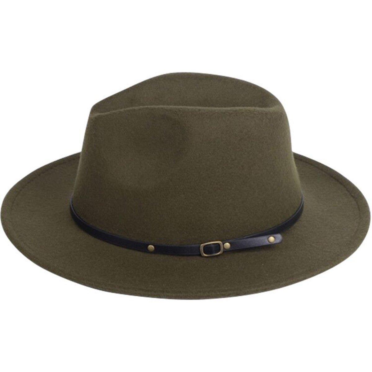 7748d34a72c Lanzom Womens Classic Wide Brim Floppy Panama Hat Belt Buckle Wool Fedora  Hat Black ) woolhat91