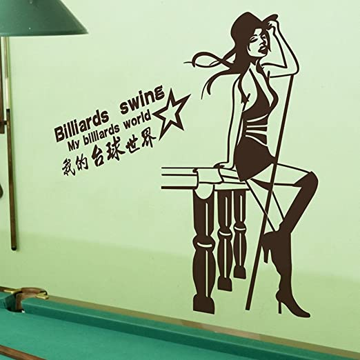 LM Sala De Billar Billar Sexy Billar Chica Movimiento Trabajar Afuera Pegatinas De Pared Habitación Wallpaper Chica Jugando: Amazon.es: Hogar