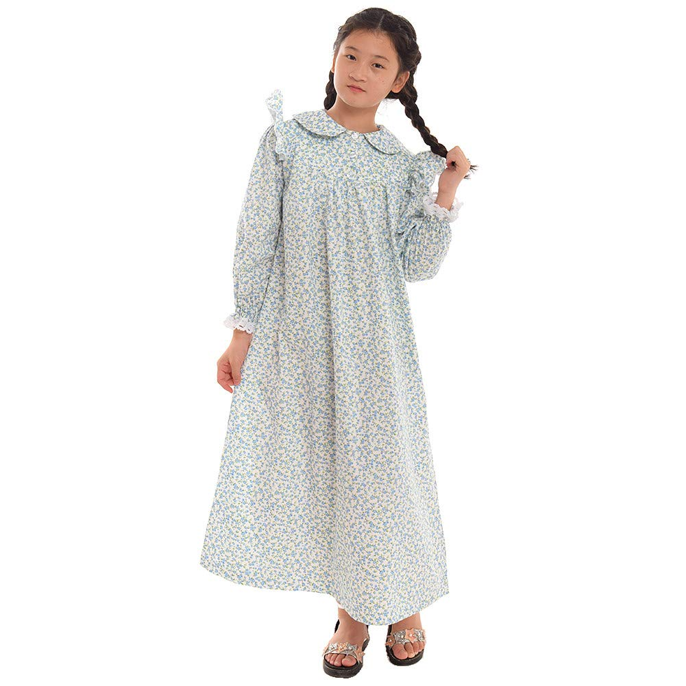 Victorian Kids Costumes & Shoes- Girls, Boys, Baby, Toddler  American Pioneer Colonial Costume Prairie Dress 100% Cotton (4 colors option) GRACEART Girls $48.99 AT vintagedancer.com