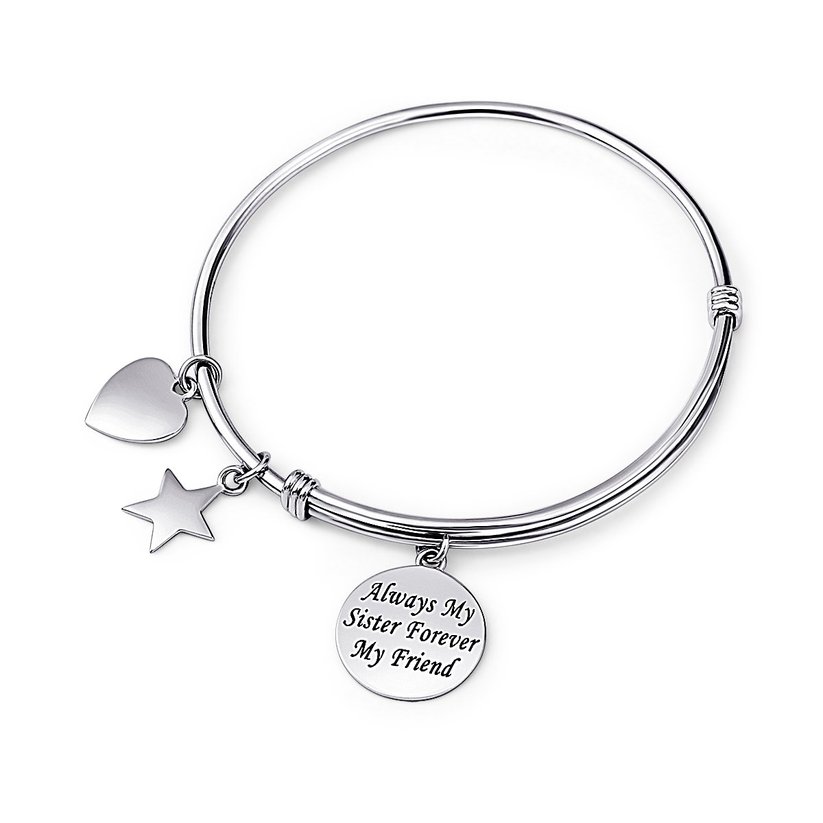 Sister Gift 925 Sterling Silver Always my Sister Forever my Friend Adjustable Bangle Bracelet, 7.5''