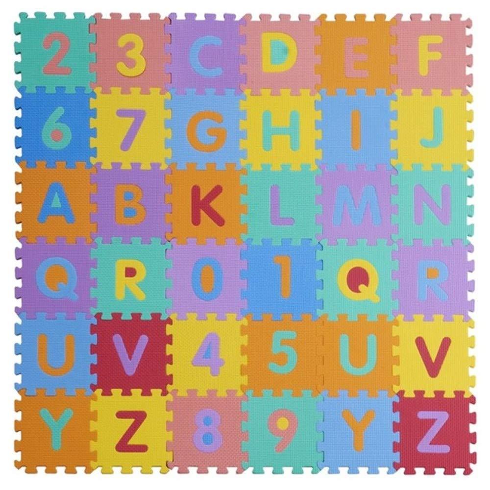 W-top 36 PCS Alfabeto Números Suave Alfombrilla de juego para niños, Actividad Puzzle Alfombras de juego Protección de piso - Espuma EVA Alfabeto de alfombra de goma Tapetes de letras, Color aleatorio