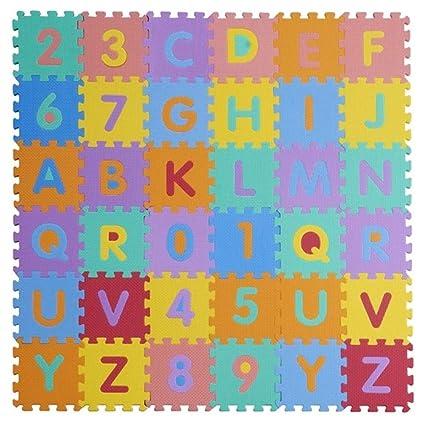 W-top 36 PCS Alfabeto Números Suave Alfombrilla de juego para niños, Actividad Puzzle