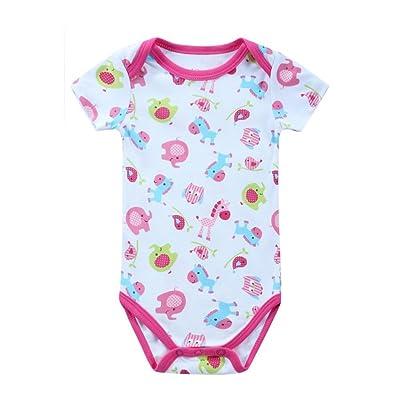 JIAJIA - Body - Manches Courtes - Bébé (fille) 0 à 24 mois Rouge Rosa Roja