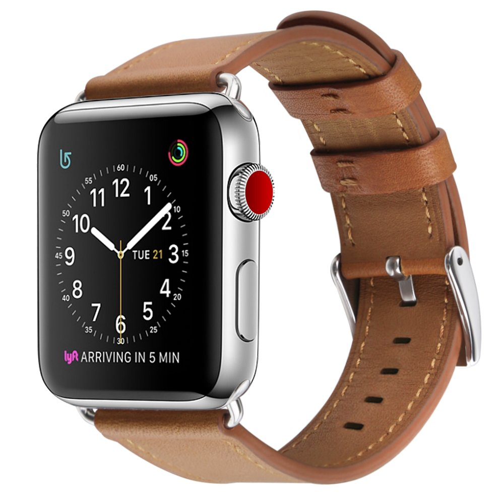 For Apple Watch Band, COVERY 38MM iWatch Band Genuine Leather Strap Stainless Metal Buckle for Apple Watch Series 3, Series 2, Series 1, Sport & Edition- Brown