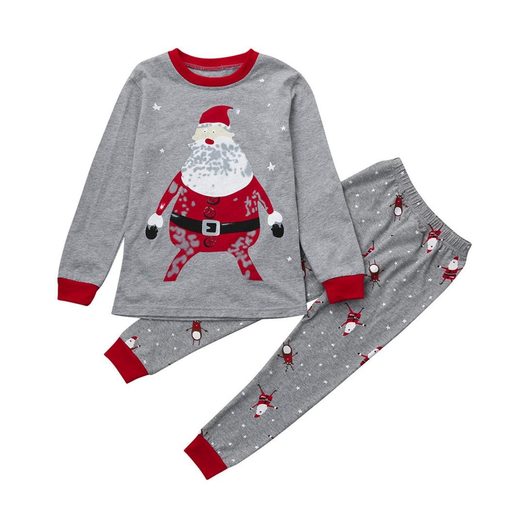 Quistal 2pcs Kids Clothing Sets, Xmas Newborn Infant Baby Boys Girls Tops+Pants Christmas Home Outfits Pajamas Set for 2-7 Years Old