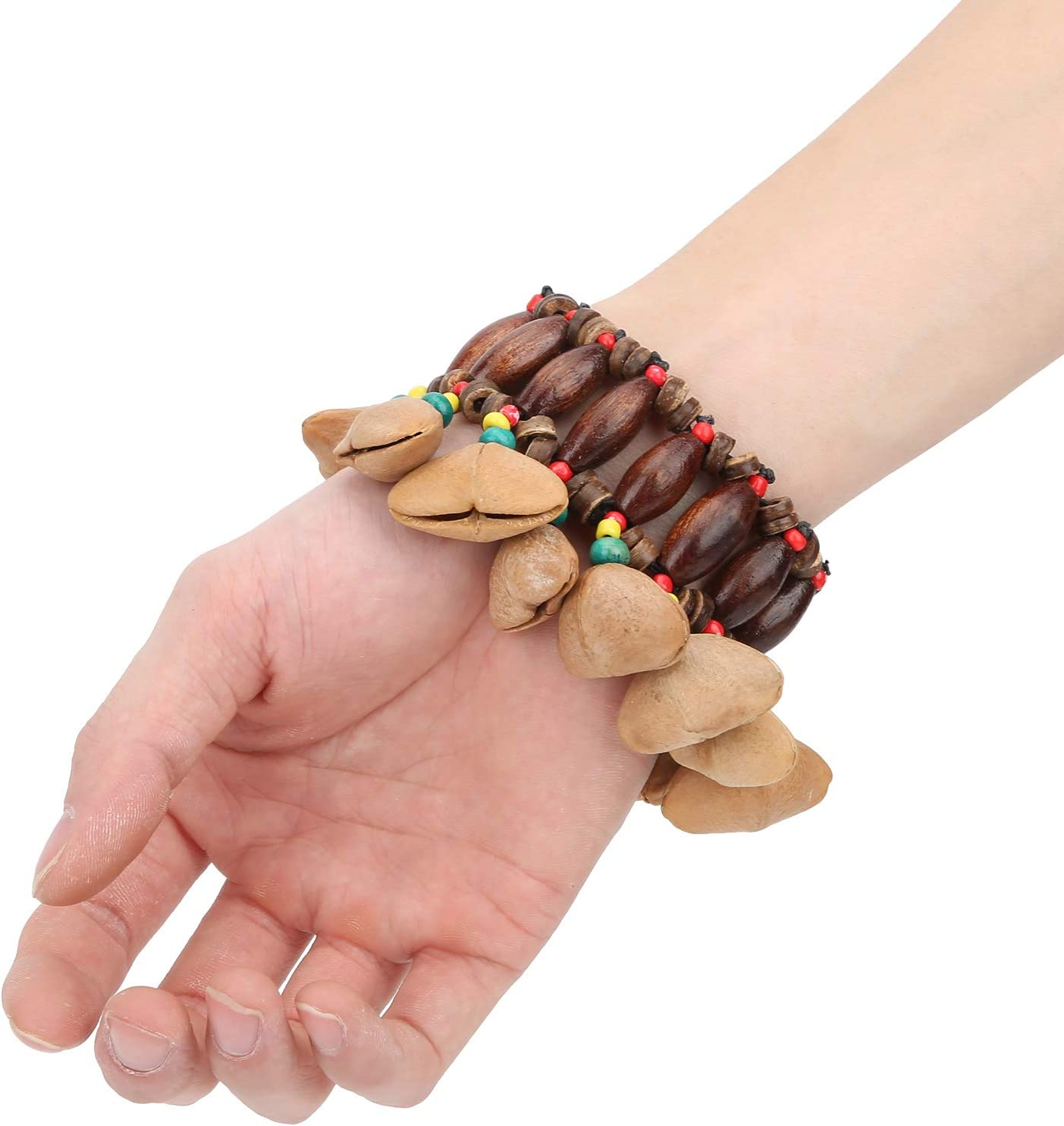African Tribal Bracelet,African Tribal Style Drum Bracelet Hand‑Made Nut Shell Percussion Musical Instrument Supplies