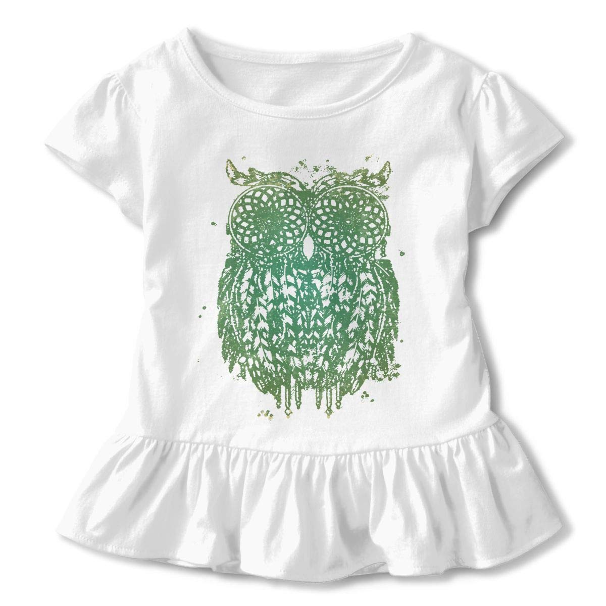 Owl Dream Catchers Toddler Baby Girls Short Sleeve Ruffle T-Shirt