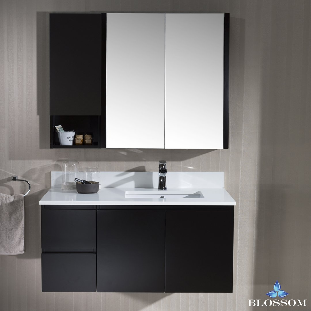 BLOSSOM 000-42-02-R-WH-MC Monaco 42'' Wall Mount Right Vanity Set with Medicine Cabinet and Wall Cabinet Espresso by Blossom