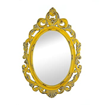 Accent Plus Wall Decor Mirror, Oval Ornate Wall Mirror, Modern Framed  Vintage Yellow Mirrors