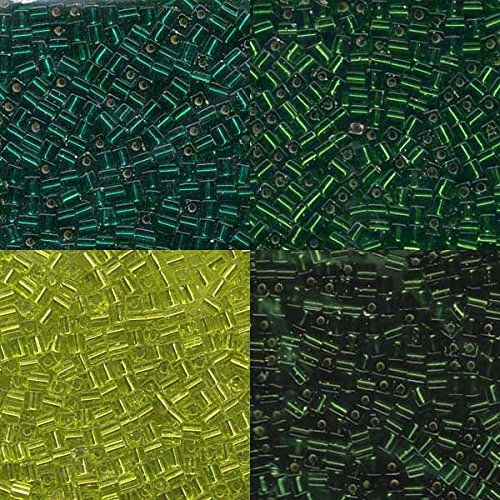 - Green Silver Lined Mix Miyuki 4mm Square Cube Japanese Glass Seed Beads 80 Grams