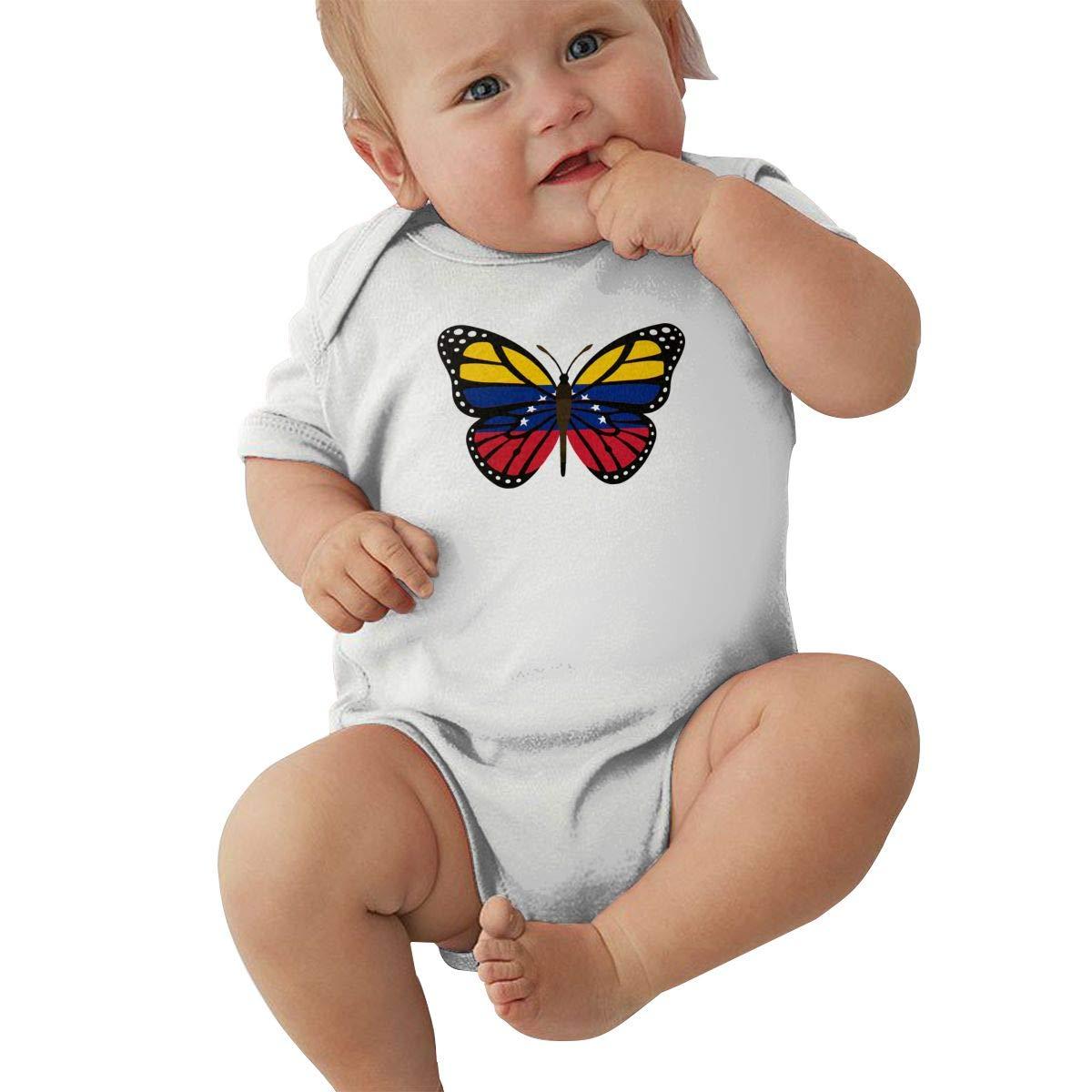 Mri-le2 Newborn Kids Short Sleeve Jumpsuit ButterFlag Venezuela Flag Infant Romper Jumpsuit