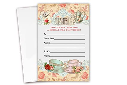 tea bridal shower luncheon invitations 20 count envelopes