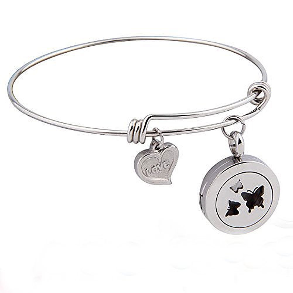 Zuo Bao Aromatherapy Essential Oil Diffuser Adjustable Bangle Bracelet 316L Stainless Steel Perfume Locket Charm Jewelry (Butterfly)