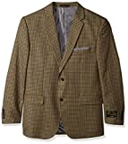 Alexander Julian Colours Men's Big and Tall Single Breasted Modern Fit Check Sportcoat, Tan/Blue, 52 Short