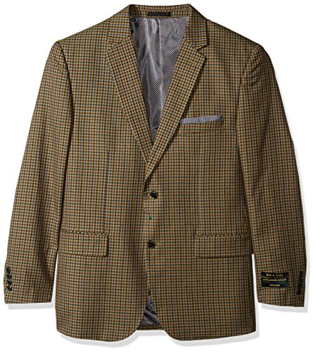 Alexander Julian Colours Men's Big and Tall Single Breasted Modern Fit Check Sportcoat, Tan/Blue, 52 Regular (Single Coat Breasted Sport)