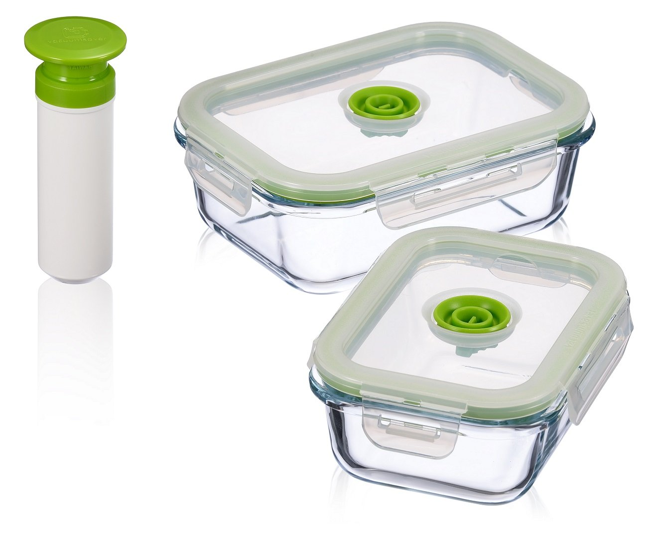 Vacuum Seal Food Storage Containers - Deep Freezer Food Storage Sealer - Hand Held Vacuum Food System - Small - Rectangle - 5Pc - Green