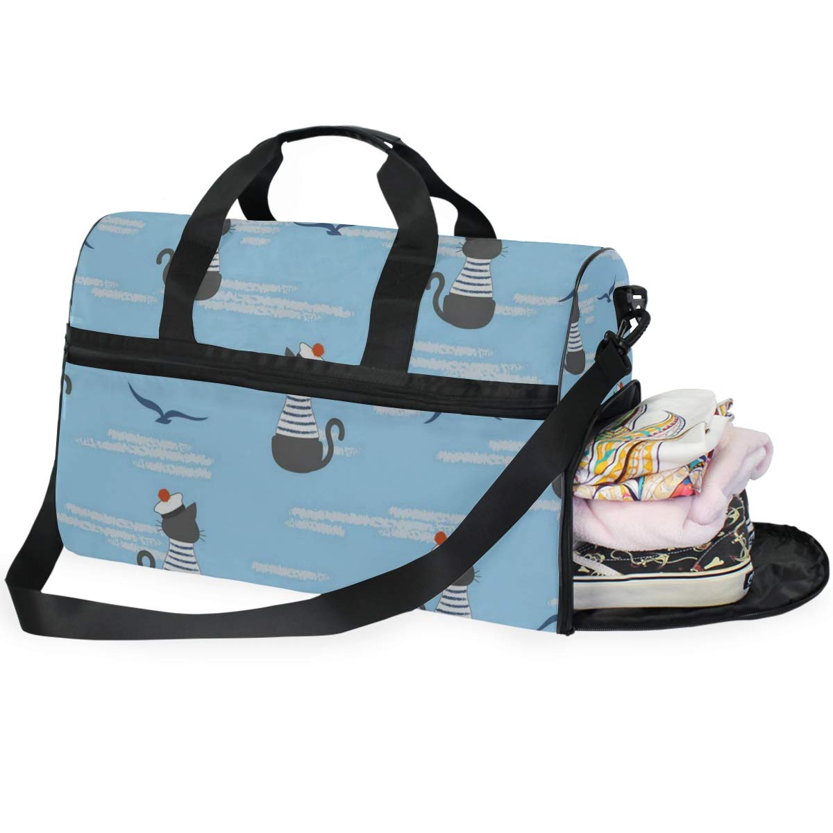 Travel Tote Luggage Weekender Duffle Bag Captain Cat Large Canvas shoulder bag with Shoe Compartment
