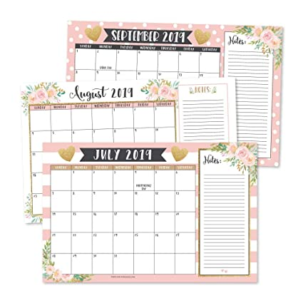 January 2020 Calendar 11x17 Amazon.: Gold Pink Chalk 2019 2020 Large Monthly Desk or Wall