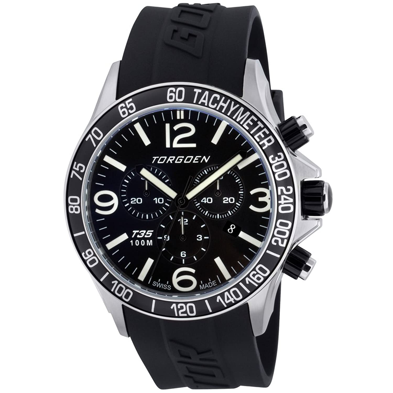 TORGOEN Swiss Herren-Armbanduhr Chronograph Quarz Kunststoff T35301