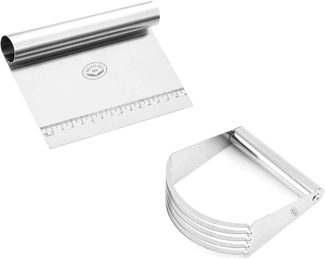 NewlineNY Stainless Steel Handheld Pastry Pizza Dough Blender Cutter + Kitchen Bench Chopper Measurer Scraper - 2 Multipurpose Tools in 1 Combo Set