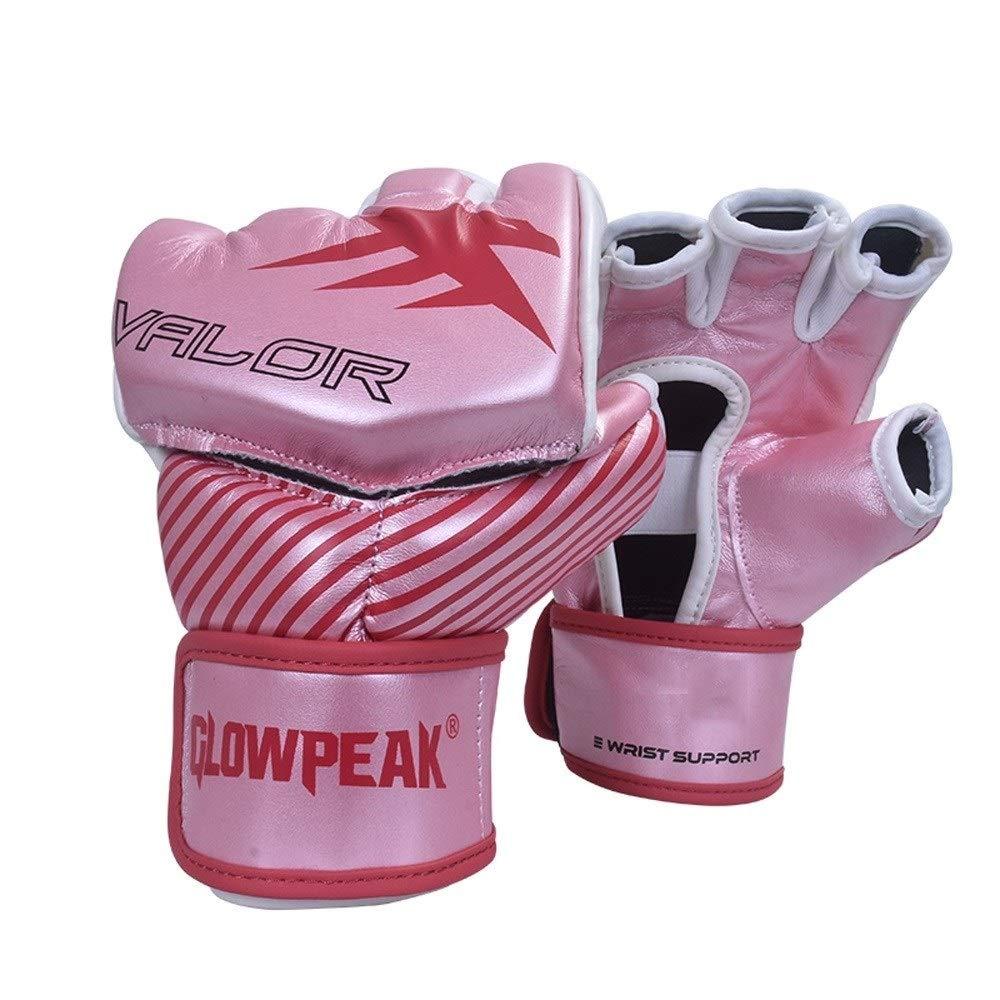 Agelec Adult Unisex Free Fight Muay Thai Taekwondo Sanda Boxing Mitten Half Finger Gloves Wear Palm Opening Breathable Boxing Gloves (Color : Pink, Size : M)