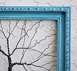 Original Sculpture Art Large Tree Abstract Unique Wall Decor ... Wire tree on vintage ornate shabby style salvaged frame, OOAK Wedding gift