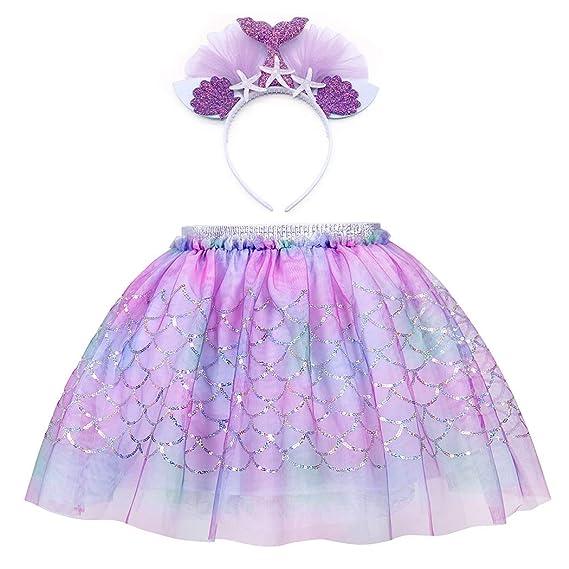 AmzBarley Girls Little Mermaid Skirt Ariel Costumes Princess Sequins Tutu Dress Birthday Fancy Party Outfits 2-7 Years