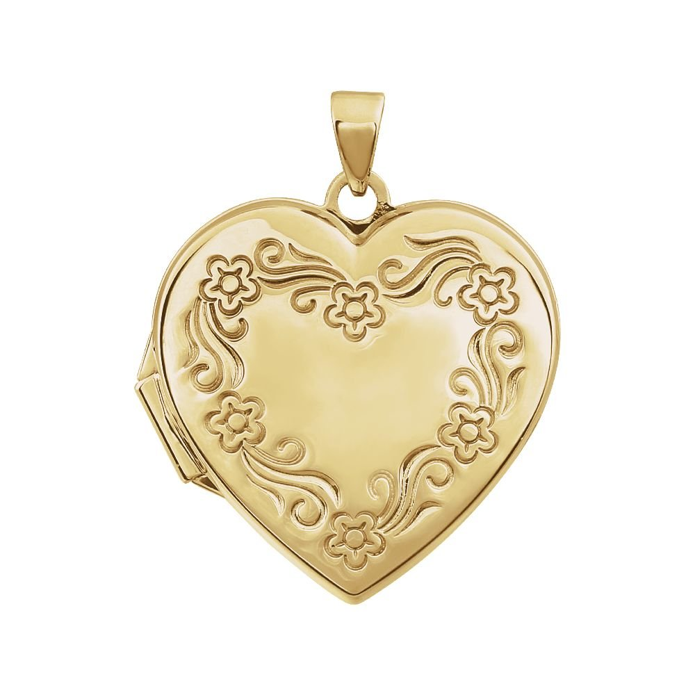 14ct Or jaune 20,5x 21.5mm poli Médaillon en forme de cœur 5x 21.5mm poli Médaillon en forme de cœur JewelryWeb