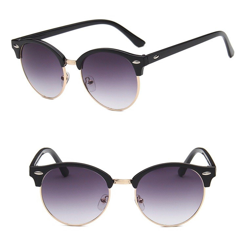 93a0658402fba Amazon.com  Nuni Iridium Coating Mirrored Lenses Round Browline Sunglasses  Small Size (black