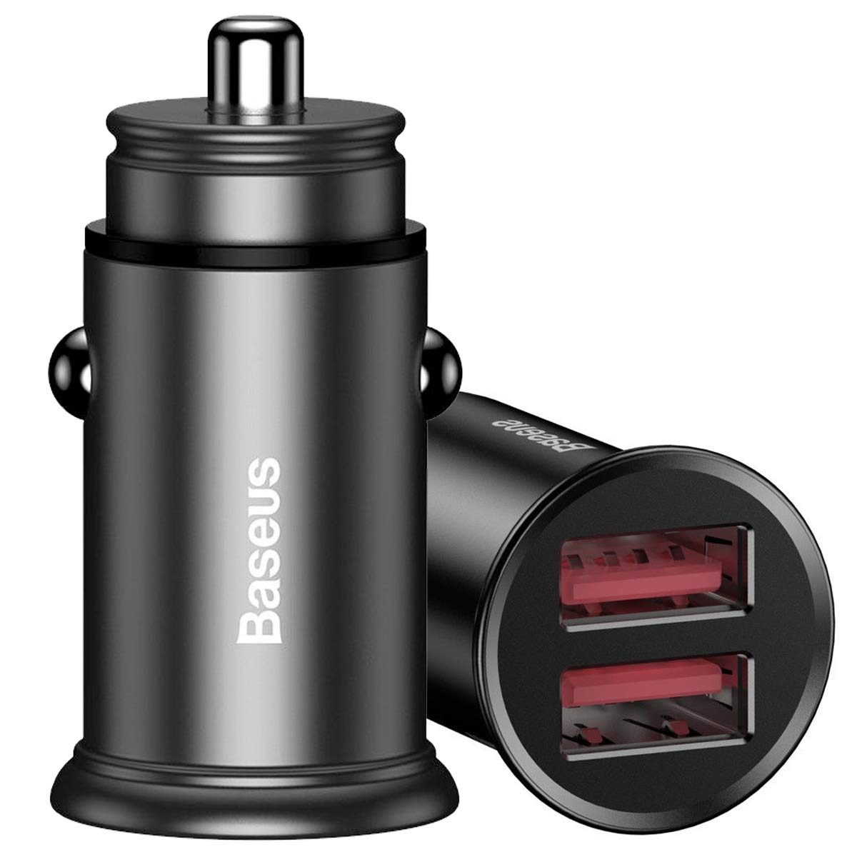 TJS Dual USB 3.0 Car Charger Aluminum Alloy 5V//5A 30W Quick Charger QC3.0 Compatible Apple iPhone Xs//XS Max//XR//X//8//8 Plus Samsung Galaxy Note 9//8 iPad Mini//Pro S9//S9+//S8//S8 Plus and More Black