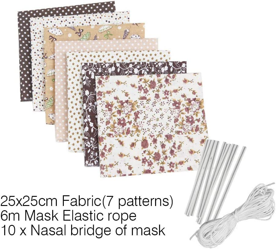 7PCS Pure Cotton Craft Fabric Bundle Patchwork 25 x 25cm Quilting Sewing Patchwork Beautiful Pattern Cloths for DIY Scrapbooking Artcraft with 10PCS Face Cover Metal Wire/&6M Mask Elastic Rope Black