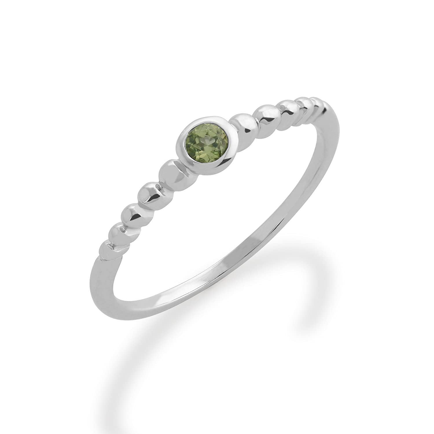 Gemondo Peridot Ring, 925 Sterling Silver 0.10ct Peridot Stackable Birthstone Ring
