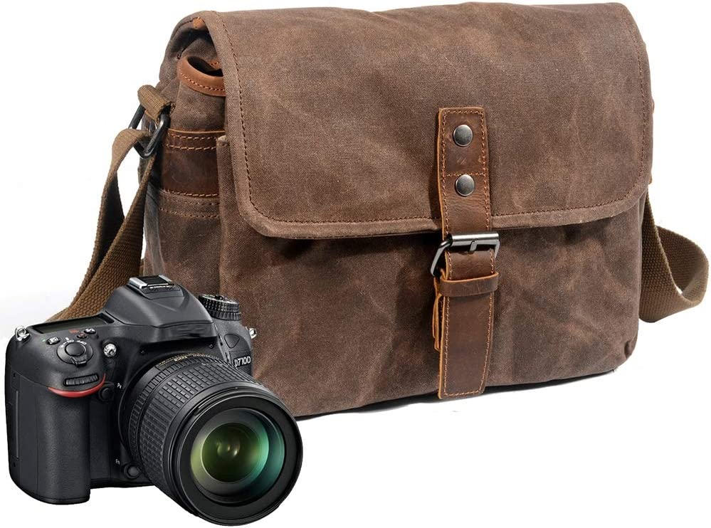 Waterproof and Shockproof for Digital Cameras Tablets Phones Vintage Canvas Leather DSLR SLR Digital Bag MSQL Camera Shoulder Messenger Bag