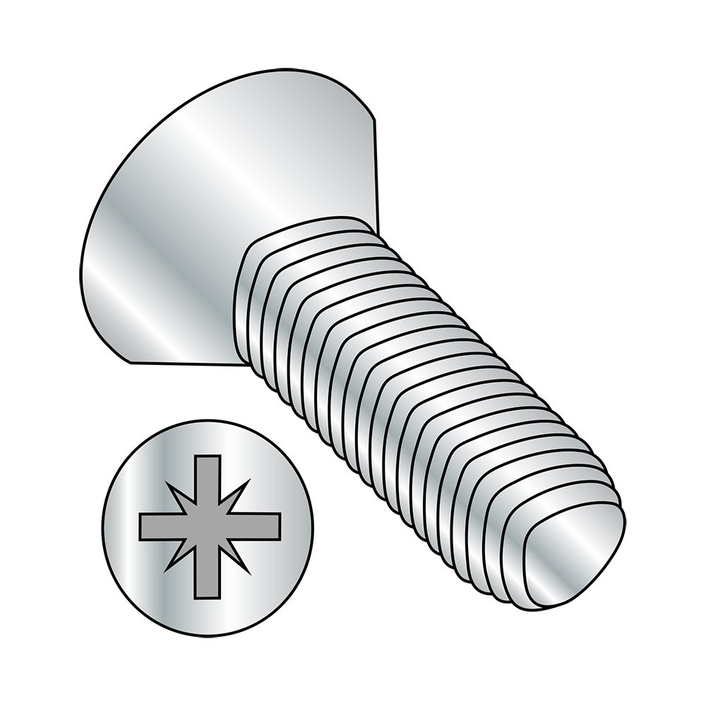 90 Degree Flat Head M5-0.8 Thread Size Steel Thread Rolling Screw for Metal Pozi Drive Zinc Plated 20 mm Length Metric Pack of 100