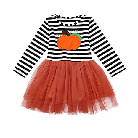 ❤ Modaworld Vestidos Bebé Niña, Vestido de Halloween de Manga Larga Estampado a Rayas de Calabaza de niña + Diademas Bebés Conjunto de Ropa: Amazon.es: ...