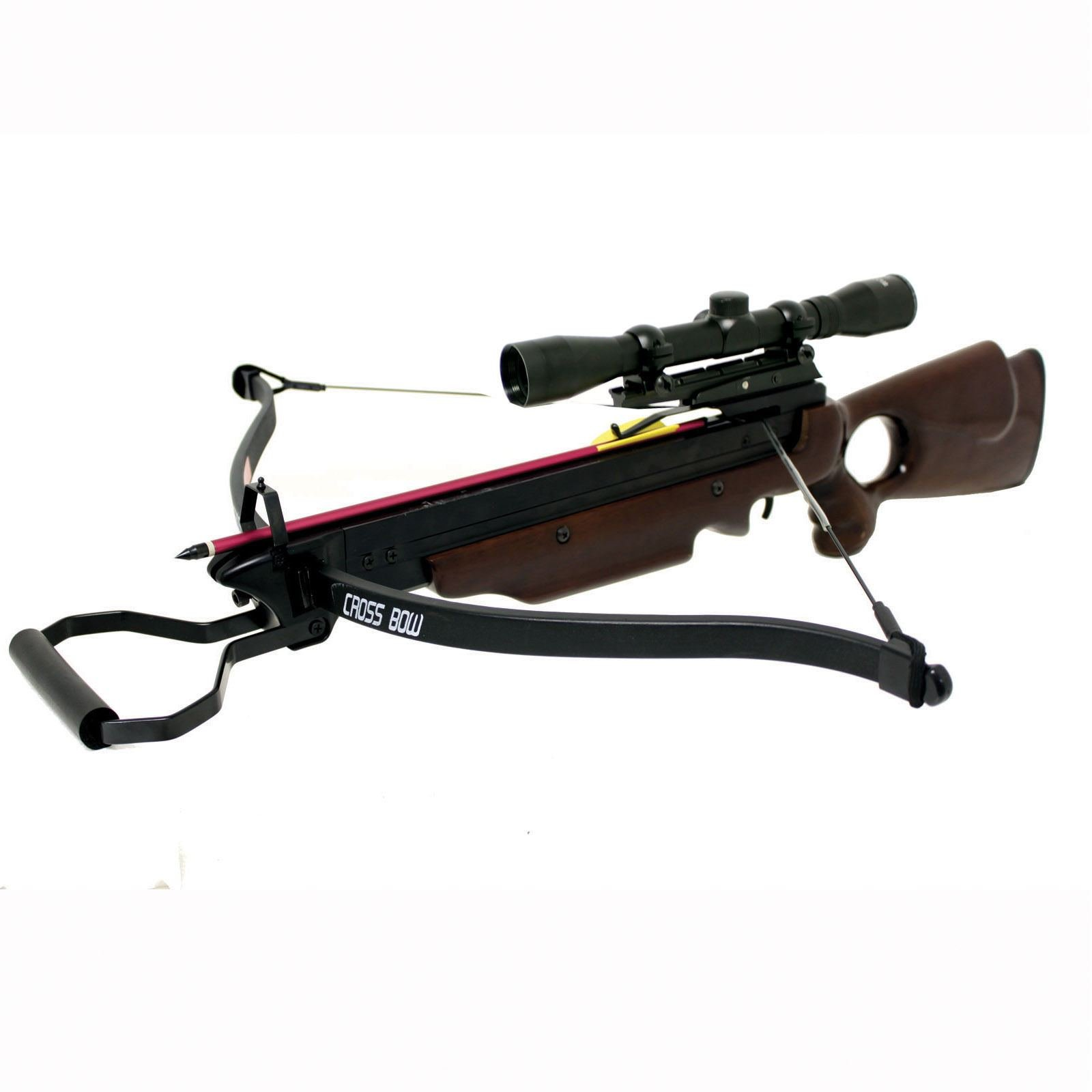 Hunting Crossbows 150 lbs Wizard Wood Hunting Crossbow 4x32 Scope + 8 Arrows Bolts Crossbow Bolts