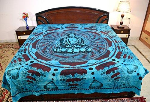 Sarjana Handicrafts King Size Cotton Flat Bed Sheet Buddha Bedspread Bedding (Sky - Big Flats Buddha
