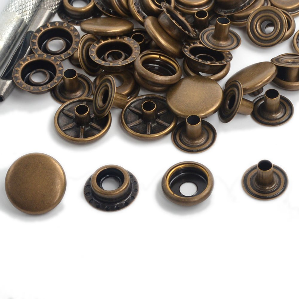 Pack 15 Sets Antique Brass 12.5/15/17mm Snap Fasteners Poppers Press Studs Sewing Buttons For Clothing and Accessories - Adding Secure Closure to Jackets, Jeans, Leather Craft ,Bags, Straps and Other Sewing Projects Clothes Repair (12.5) ifsecond
