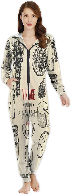 Line Art Seamless Pattern No.250,Women's Onesie Pajamas Sportswear M