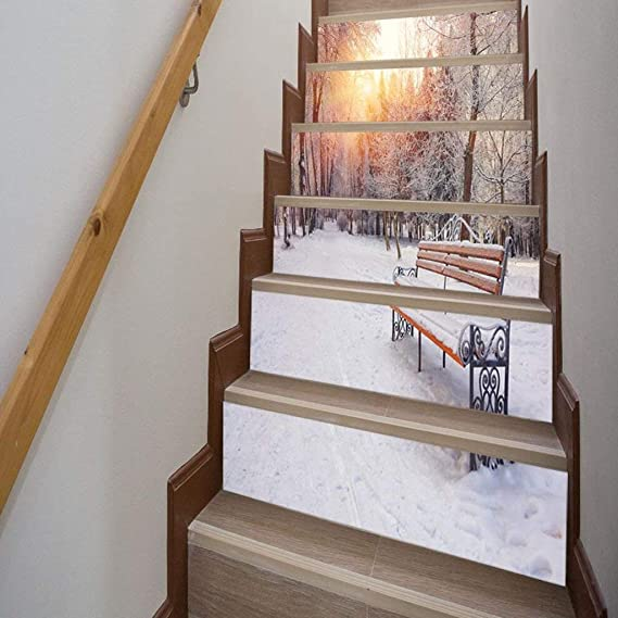 CAI Inicio 3D nieve Bosque Escena Escalera pegatinas Personalidad Corredor Escaleras decorativas pegatinas de pared Tamaño (100 * 18 cm * 6 piezas): Amazon.es: Bricolaje y herramientas