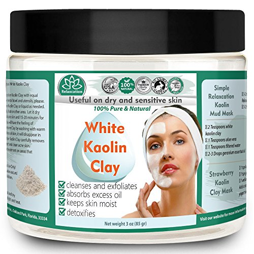 KAOLIN CLAY POWDER All Natural and Pure White Kaolin Clay Cosmetic Grade, Great For Sensitive Skin, Use For Facial Masks, Hair Masks -