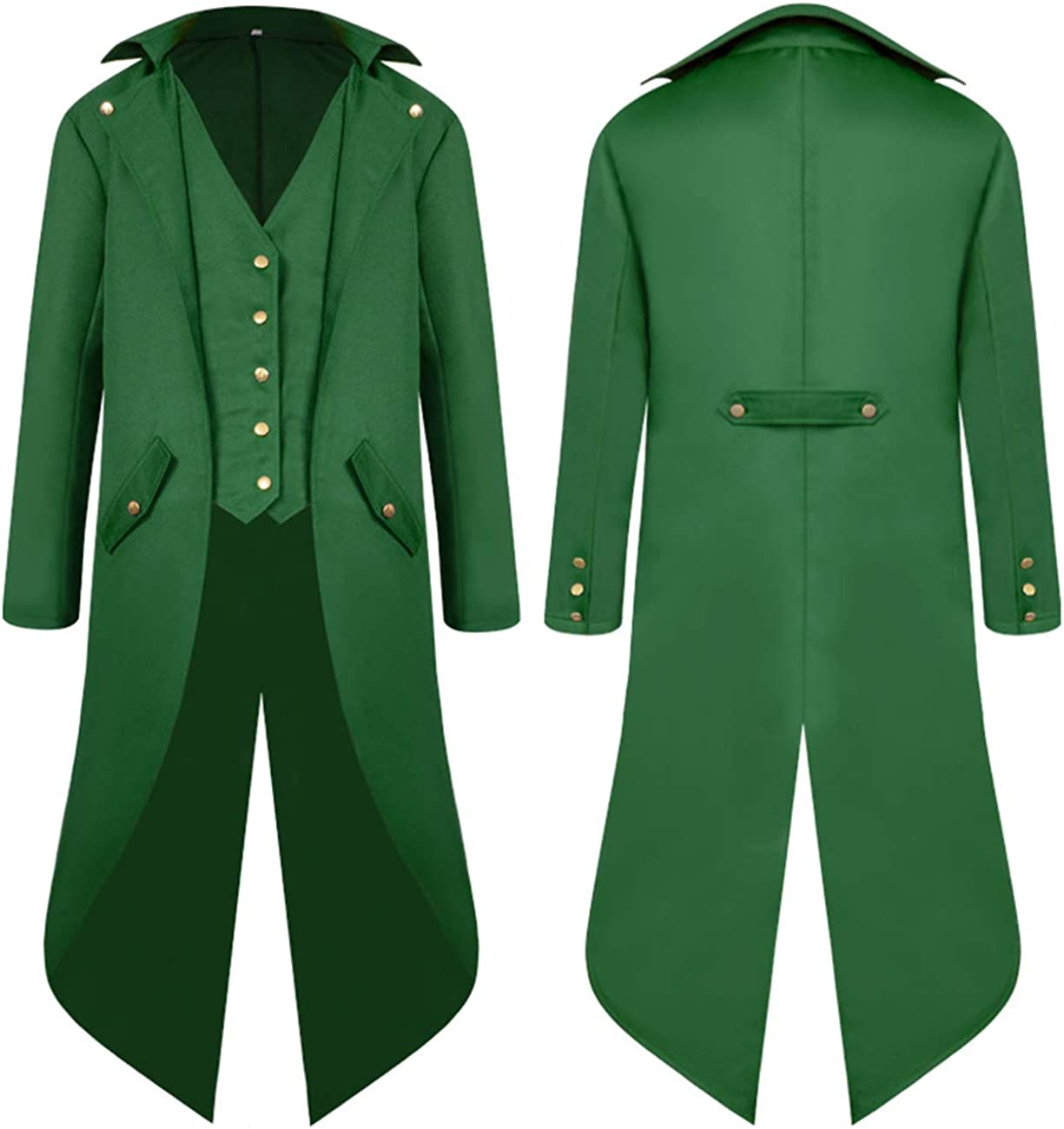 MOCUER Mens Tailcoat Jacket Gothic Victorian Steampunk Halloween Costume Long Uniform Coat