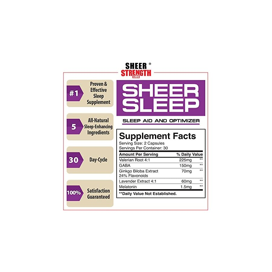 Sheer Natural Sleep Aid Pills Maximum Strength Formula with Melatonin, GABA, Valerian Root and More 60 Vegetarian Sleeping Pills