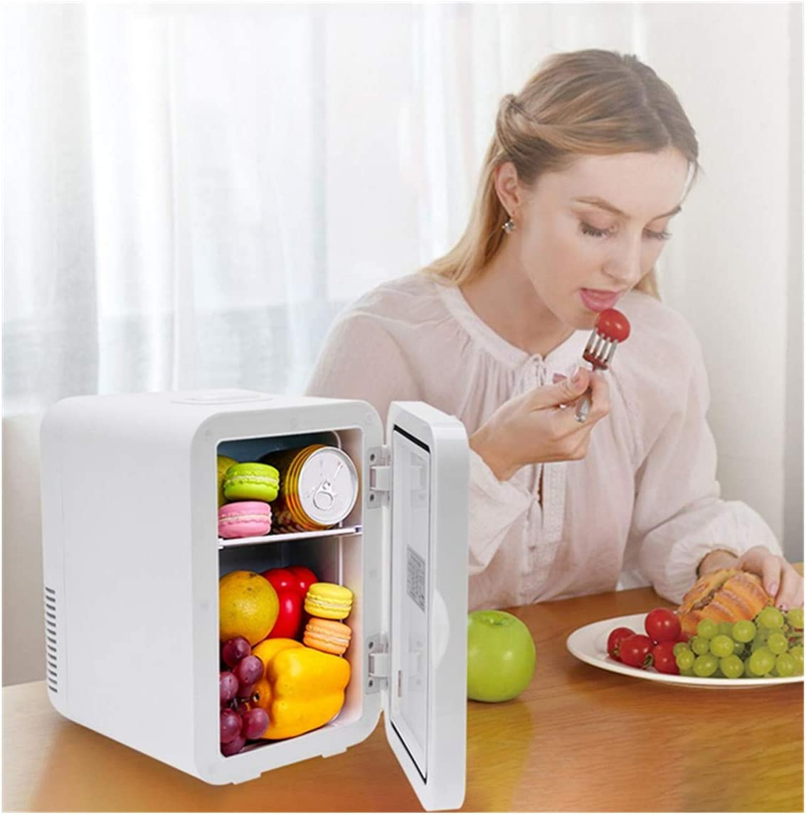 Hopeg US DELIVERY 8 Liter White Mini Fridge, Portable Cooler and Warmer Compact Refrigerator with Car Charger Micro Fridge for Camping Bedroom,Office,Skincare,Breastmilk,Travel and Car