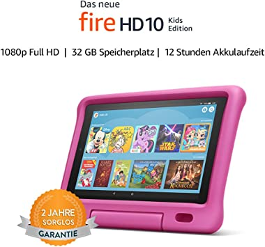 Fire Hd 10 Kids Edition Tablet 10 1 Zoll 1080p Full Hd Display 32 Gb Pinke Kindgerechte Hülle Amazon Devices