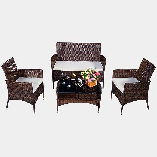 Muebles de Jardín Juego completo Balcón Muebles Set daliana marrón Asiento Grupo Lounge Jardín Jardín Set De Muebles Balcón Muebles Modern Muebles Jardín & S portatil: Amazon.es: Jardín