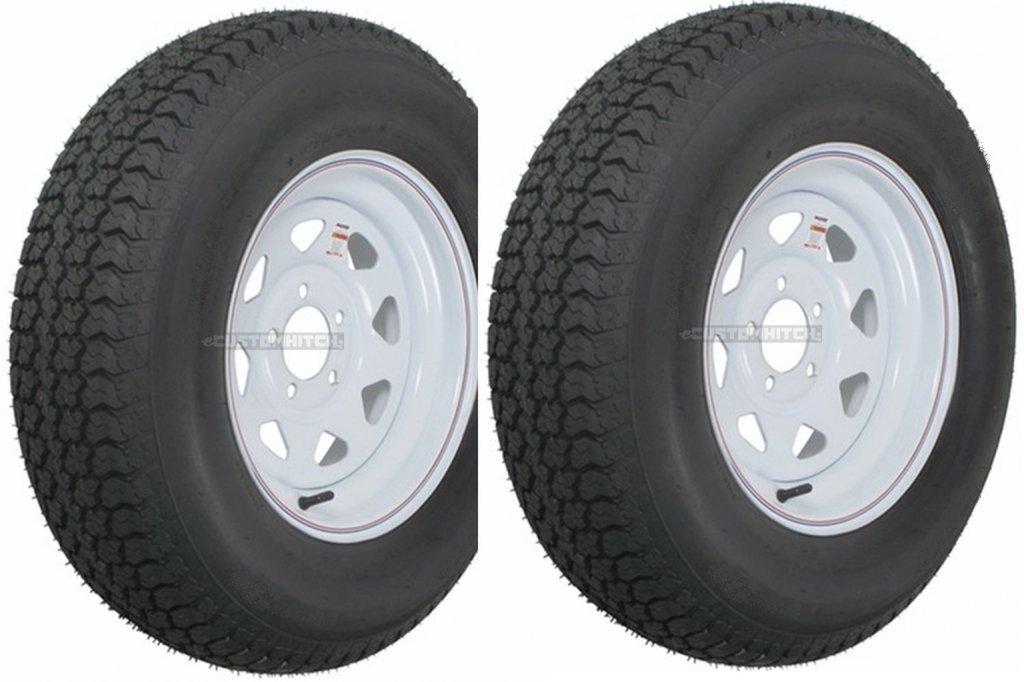 2-Pk eCustomrim Trailer Tire Rim ST205/75D14 14'' Load C 5 Lug White Spoke 58856