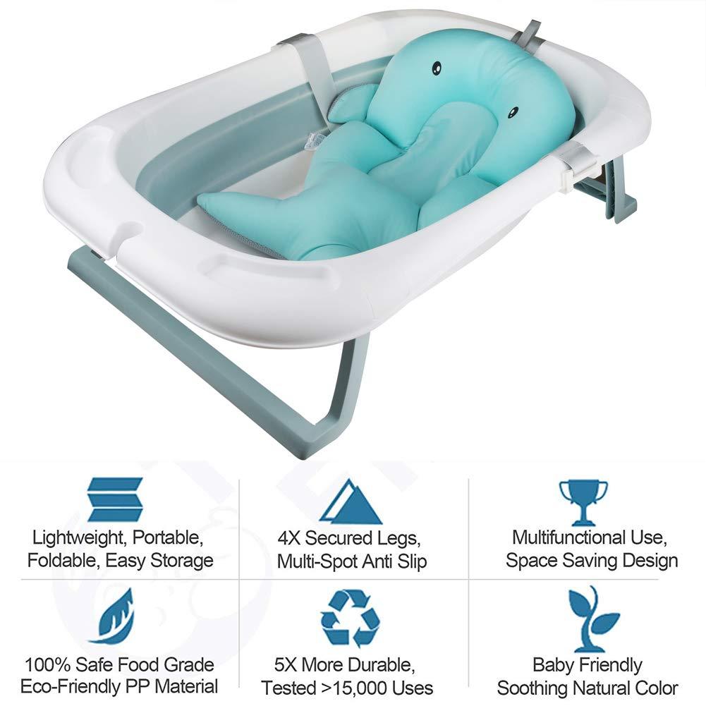 Faltbar Babybadewanne faltbare Neugeborenenbadewanne mit intelligentem Echtzeit-Temperatursensor Kinderbadewanne mit Sicherheitsbadesitz babybadewanne mit st/änder 85*53*25cm aus PP und TPE tragbar