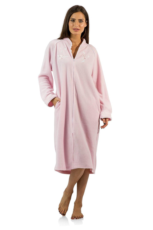 Casual Nights Women's Zip Up Front Long Fleece Robe House Dress Long Zip Up Housecoat
